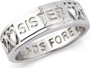 Silver sister Message Ring