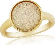 Sterling Silver 9ct Gold Plated Drusy Dress Ring