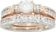 Sterling Silver 9ct Rose Gold Plated Twin Stone Set Ladies Rings