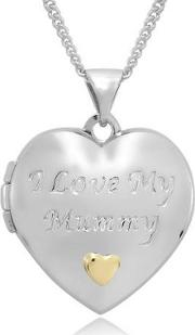 Sterling Silver And 9ct Gold i Love My Mummy Ladies Locket