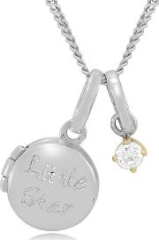 Sterling Silver And 9ct Gold Stone Set little Star Childrens Locket