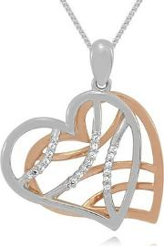 Sterling Silver And 9ct Rose Gold Plated Stone Set Ladies Pendant