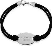Sterling Silver Black Silk Cord Ladies Bracelet always And Forever