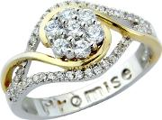 Sterling Silver & Gold Plated Cz promise Ring