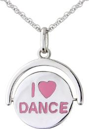 Sterling Silver i Love Dance Spinning Ladies Pendant
