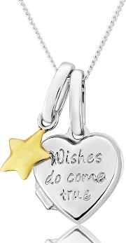Sterling Silver Locket With 9ct Gold wishes Charm