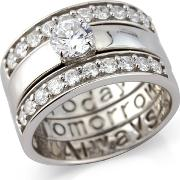 Sterling Silver 'today, Tomorrow & Always' Cz Ring