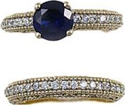 Sterling Silver, Yellow Rhodium, Created Sapphire, & Stone Set Ladies 2 Part Ring