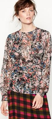 Studio By  Black Floral Print Layered Blouse