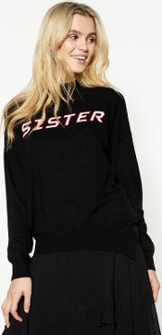 Studio By  Navy sister High Neck Jumper With Wool