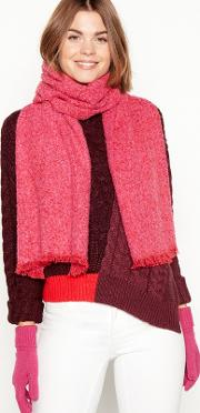 2 Piece Pink Boucle Scarf And Gloves Gift Set