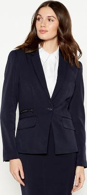 Black Zip Trim Suit Jacket