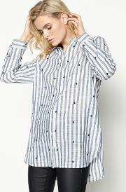 Blue Stripe Print Embroidered Shirt