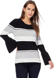 Black And Grey Striped Bell Sleeves Jumper