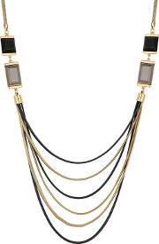 Designer Crystal Square Multi Row Necklace