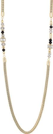 Designer Jet Bead And Baguette Snake Chain Necklace