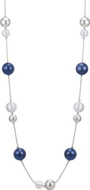 Designer Silver And Navy Orb Rope Necklace