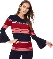 Navy And Pink Striped Bell Sleeves Jumper