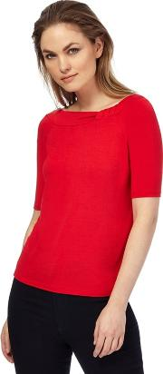 Red bardot Knot Detail Jersey Top