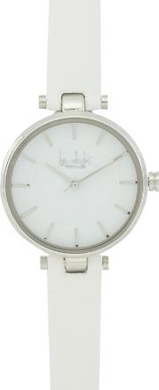 White Silver Toned Analogue Watch