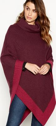 Dark Red Colour Block Poncho