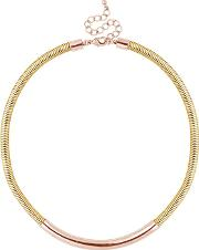 Designer Rose Gold Tube Mesh Chain Necklace