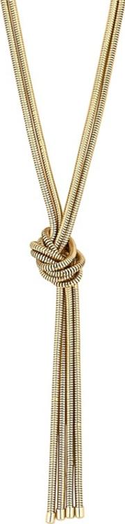 Gold Plated Gold Knot Lariat Necklace
