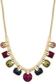 Gold Plated Multi Coloured Glass Mixed Stone Multi Casting Allway Necklace