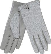 Grey Leather Palm Gloves