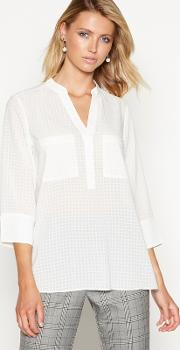 Ivory Burnout Check Print Shirt