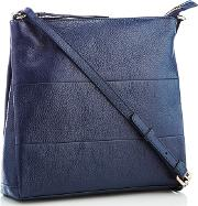 Navy Panelled Leather Cross Body Bag
