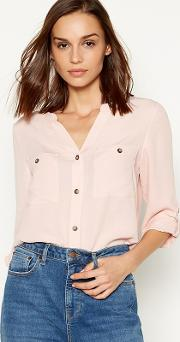 Pale Pink Textured Utility Shirt