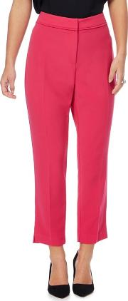 Bright Pink Tapered Petite Suit Trousers