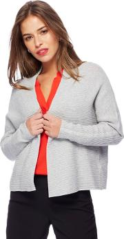 Grey Textured Edge To Edge Petite Cardigan