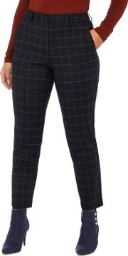 Petite Navy Checked Print Tailored Fit Petite Trousers
