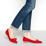Red Suedette Bow chia Pointed Ballet Pumps