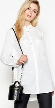 White Longline Floral Embroidered Cotton Shirt