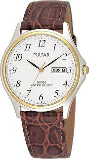 Mens Brown Leather Strap Watch With Date Function Pxf294x1