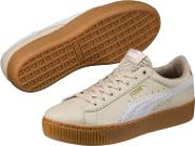Cream Leather vikky Trainers