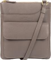 Grey oban Soft Cowhide Leather Cross Body Bag