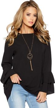 Black Double Frill Sleeves Necklace Top