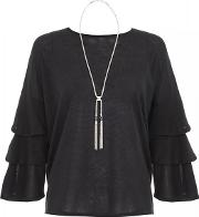 Black Frill Sleeve Necklace Top