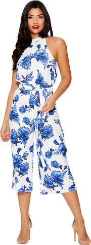 Blue And White Floral Print Jumpsuit