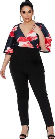 Curve Black And Red Floral Wrap Over Jumpsuit