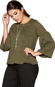 Curve Khaki Light Knit Frill Sleeves Necklace Top