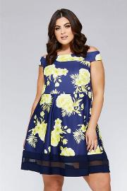 Curve Navy And Yellow Floral Bardot Skater Dress
