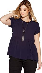Curve Navy Crepe Necklace Top