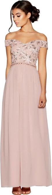 Dusty Pink Bardot Embroidered Maxi Dress