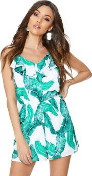 Green And White Palm Print Playsuit