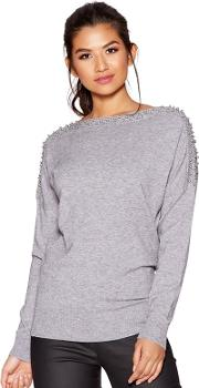 Grey Light Knit Batwing Pearl Diamante Sleeved Jumper